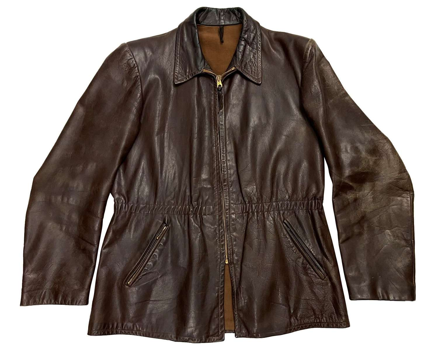 Original 1950s German Brown Leather Jacket