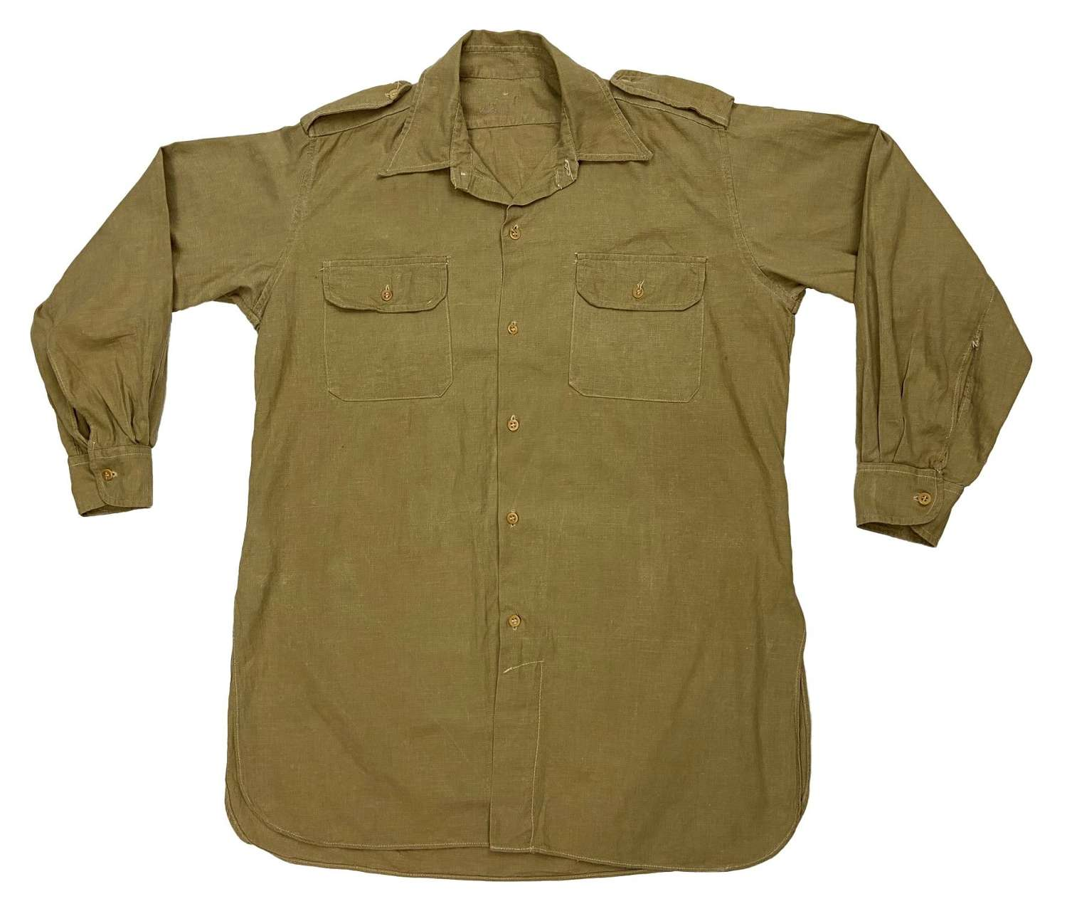 Original 1940s British Officers Khaki Drill Aertex Shirt