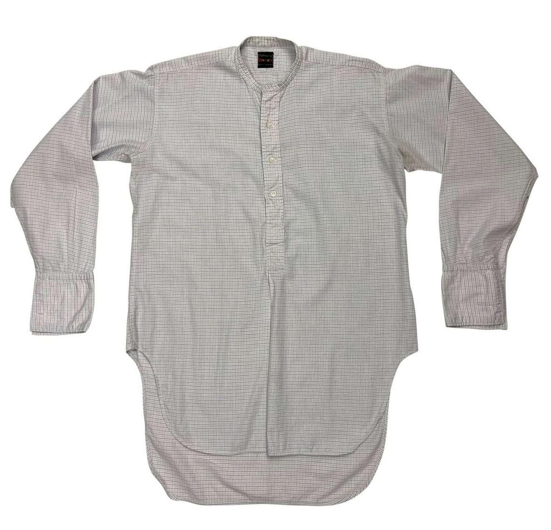 Original 1950s Men's Checked Collarless Shirt by 'Parex'