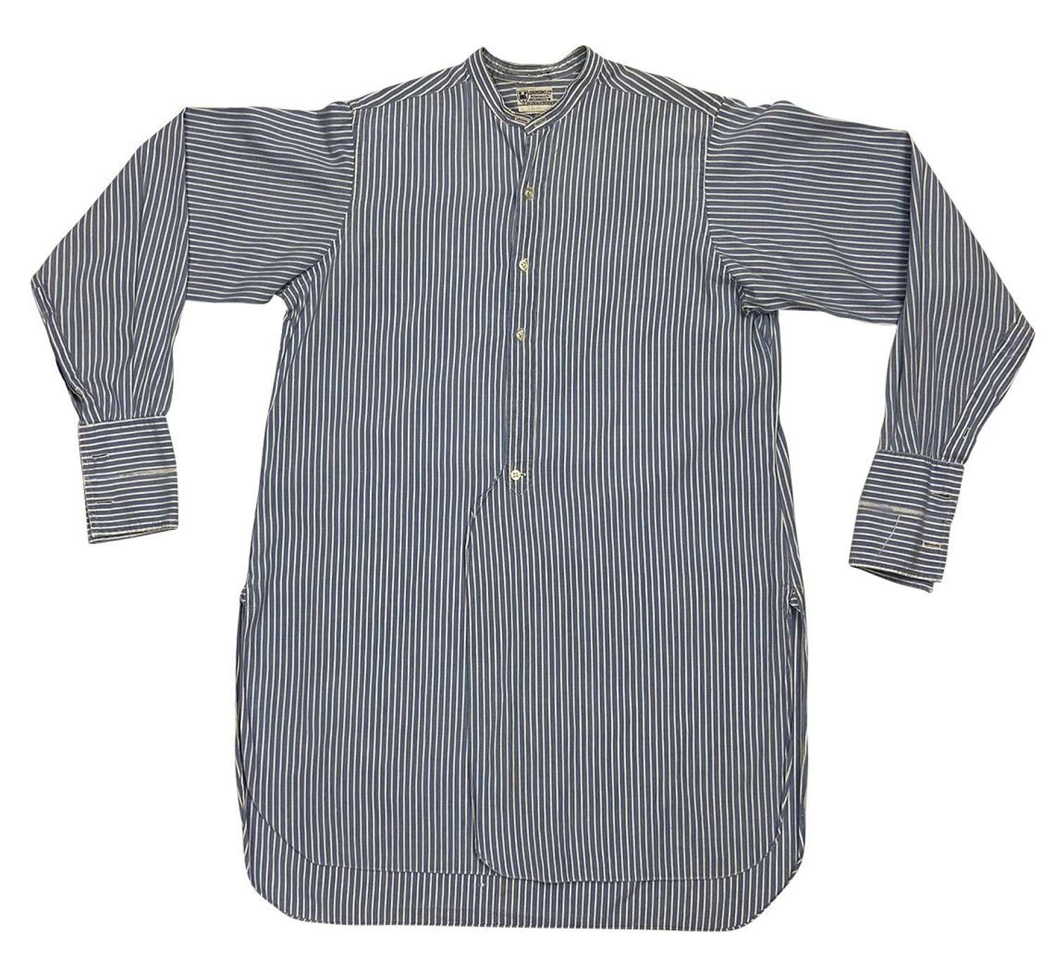Original 1950s Blue and White Striped Collarless Shirt by 'Adamsons'