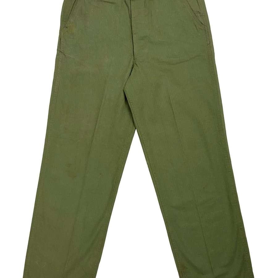 Original WW2 US Army M1942 HBT Trousers - Size 34x34 1/2