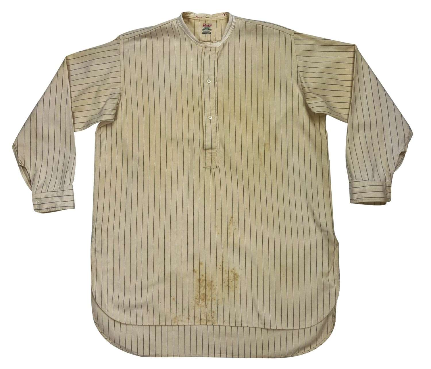 Original 1930s Men's Collarless Wool Shirt by 'Radiac' H. C. Bailey