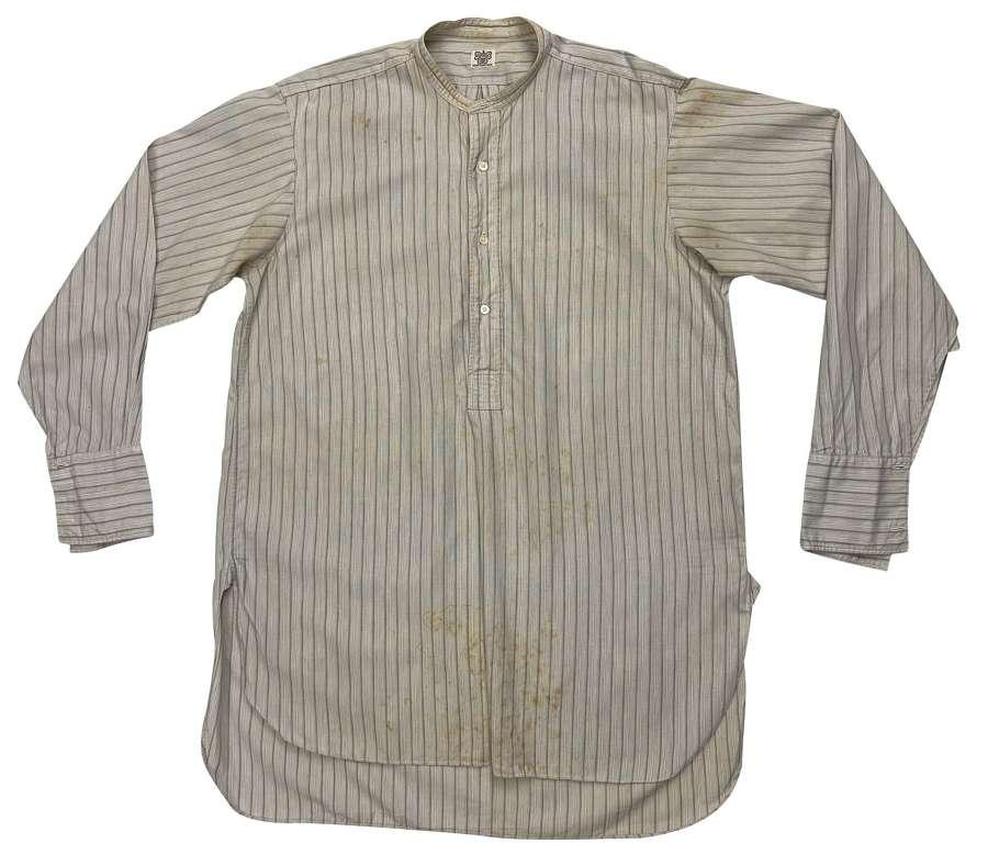 Original 1930s Blue Poplin Cotton Striped Collarless Shirt by 'Zodiac'