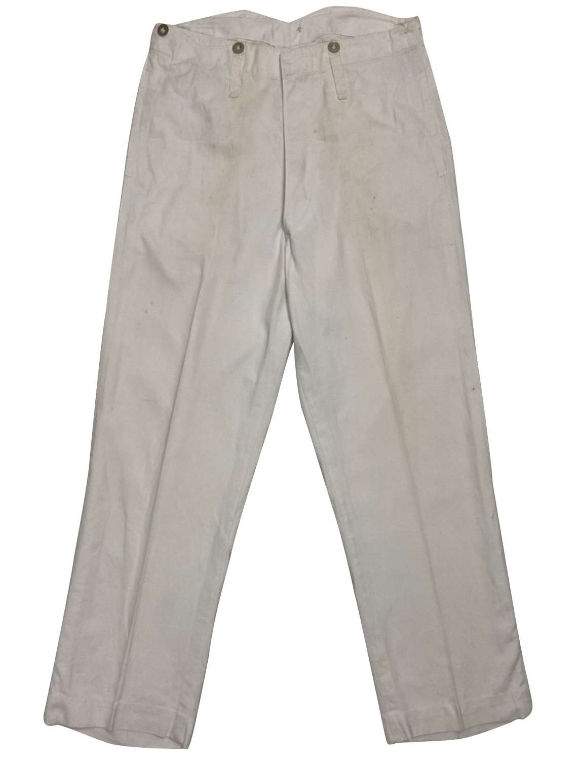 Original 1930s Royal Navy White Fatigue Work Trousers