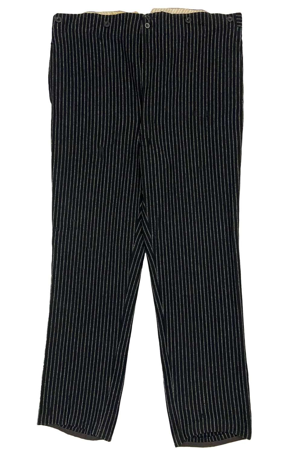 Original 1930s Striped French Work Trousers with Cinch Back