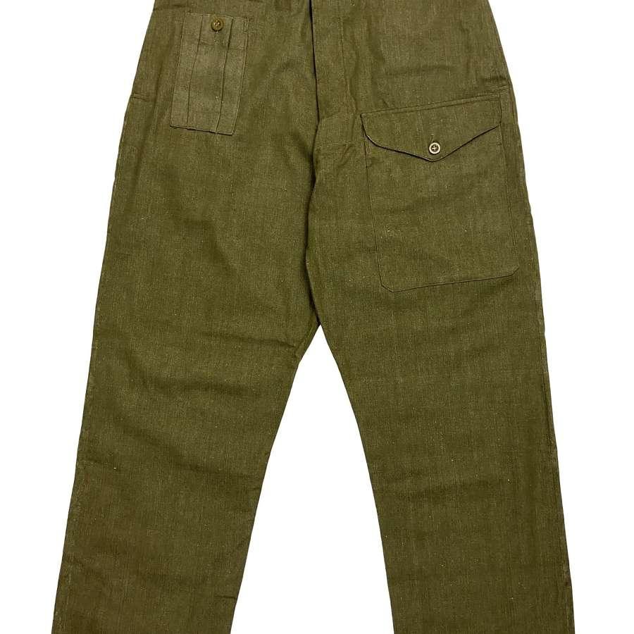 Original 1953 Dated British Denim Battledress Trousers - Size 9