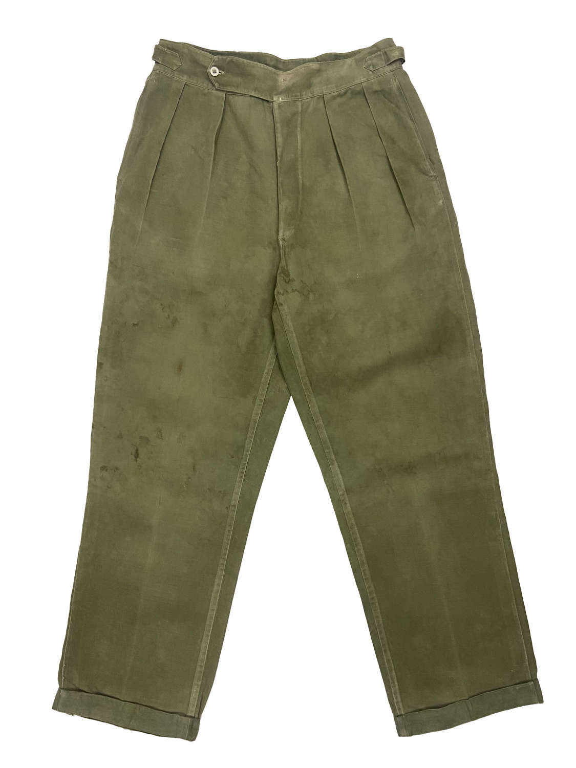 Original Early 1950s Theatre Made British Jungle Green Trousers