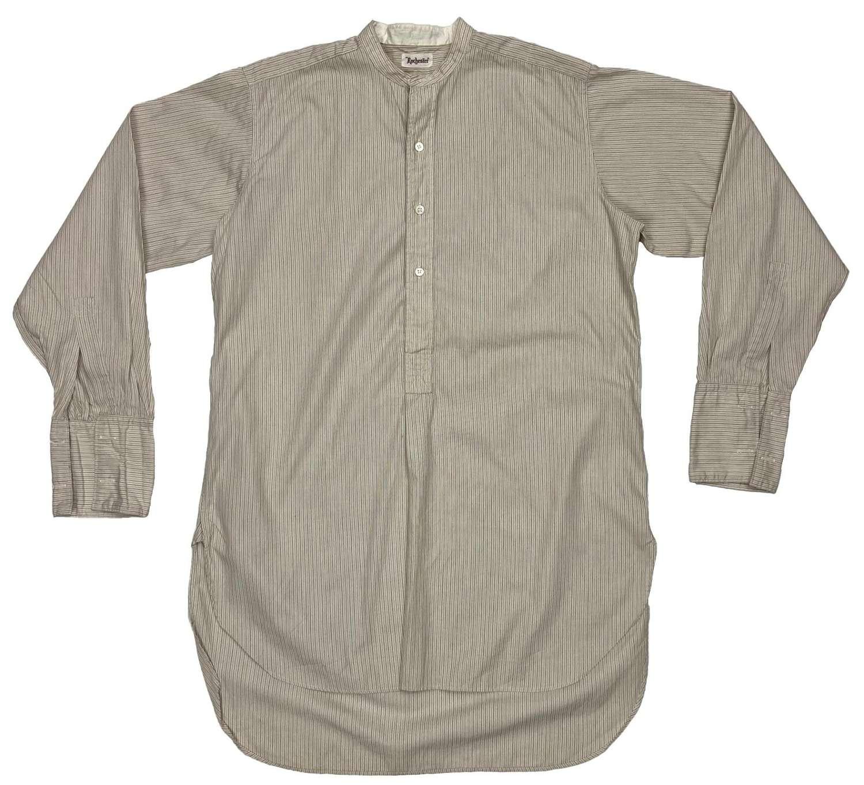 Original 1950s Men's Collarless Striped Shirt by 'Rochester'