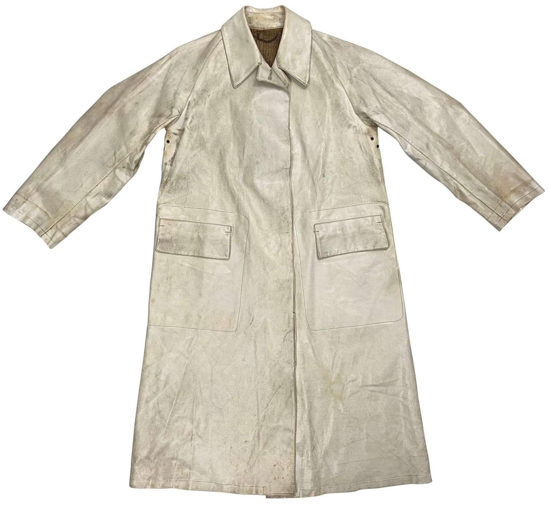 Original 1930s White Oilskin Single Breasted Coat