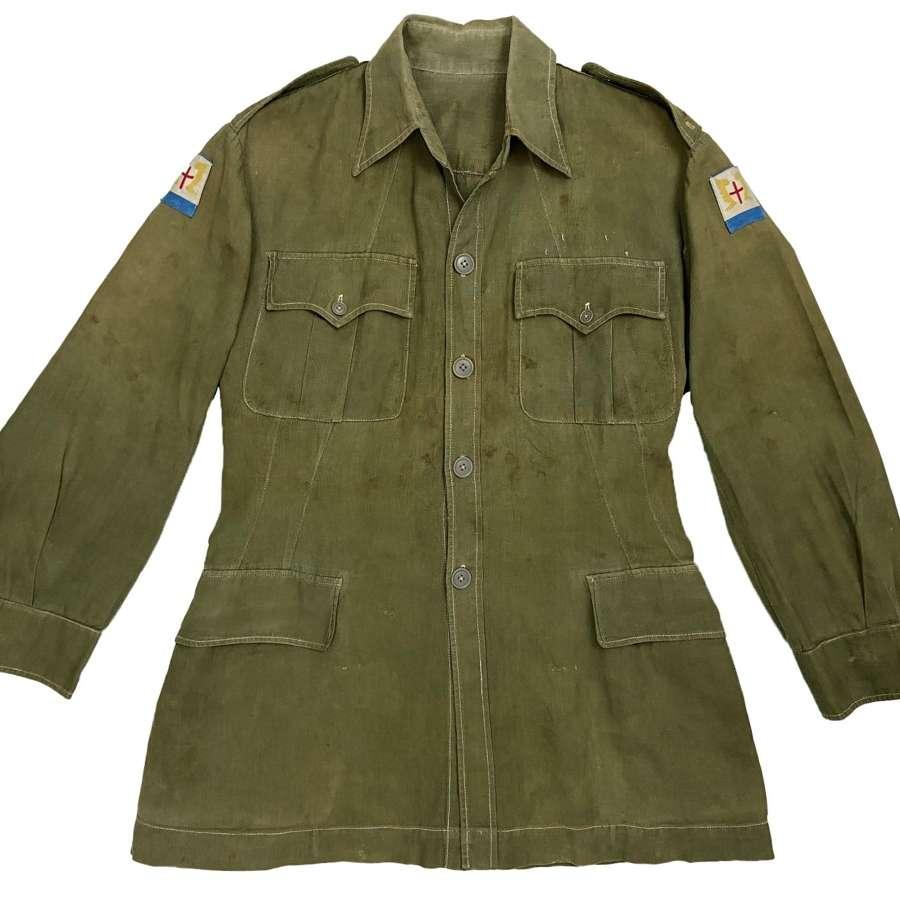 Original Early 1950s British Jungle Green Aertex Bush Jacket - FARELF