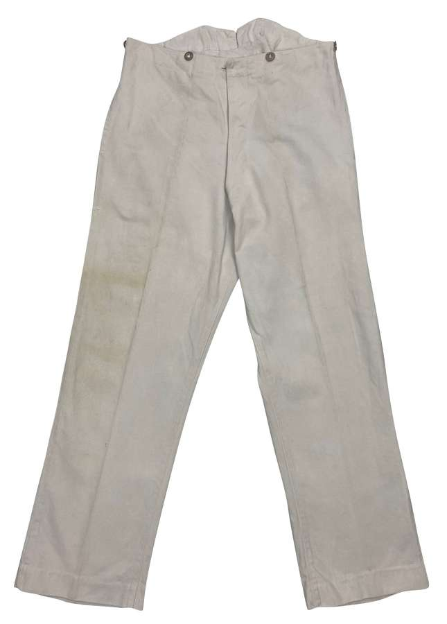 Original 1930s Royal Navy White Cotton Work Trousers