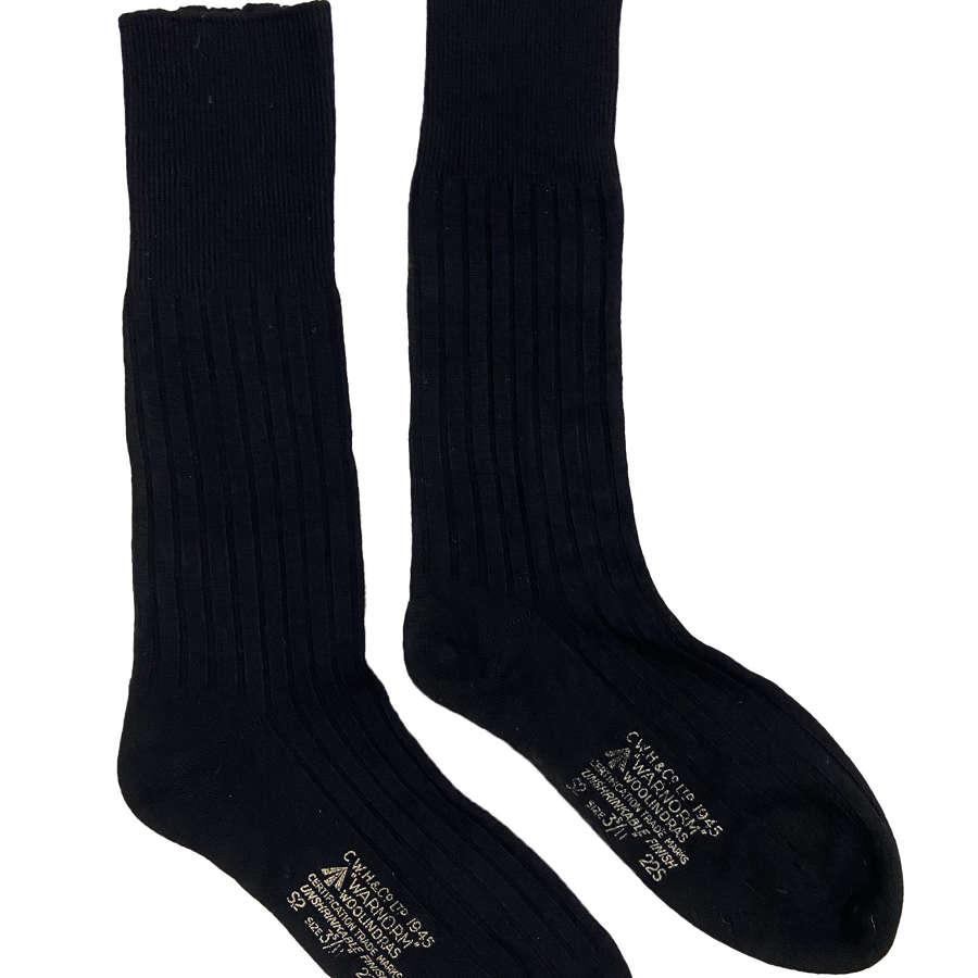 Original 1945 Dated RAF Black Wool Socks by 'Warnorm'