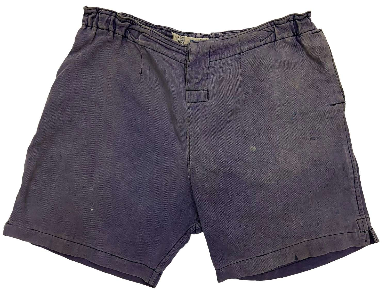 Original British Army Blue Physical Training Shorts - Size 34