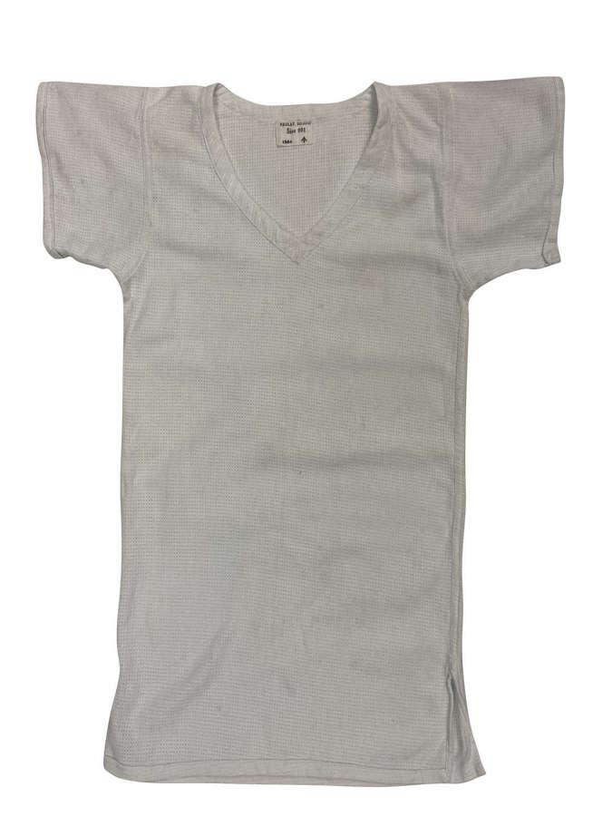 Original 1954 Dated British Army Aertex V-Neck Shirt - Size 001