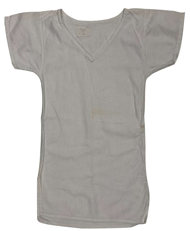 Original 1955 Dated British Army Aertex V-Neck Shirt - Size 02