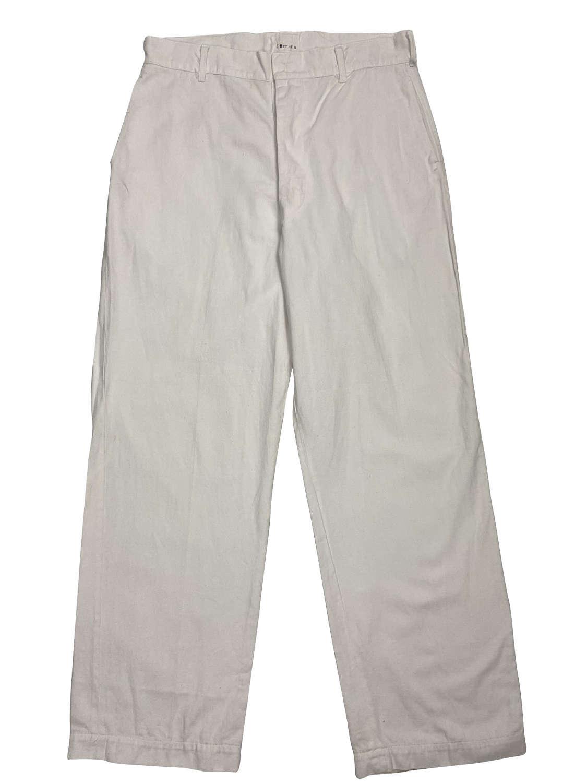 Original 1940s CC41 White Cotton Trousers