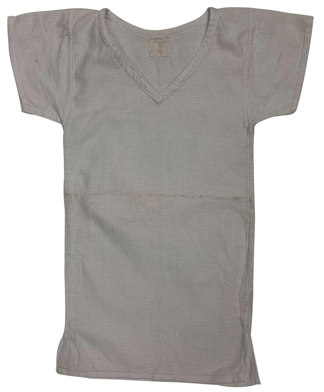 Original 1955 Dated British Army V-Neck Aertex Shirt - Size 01