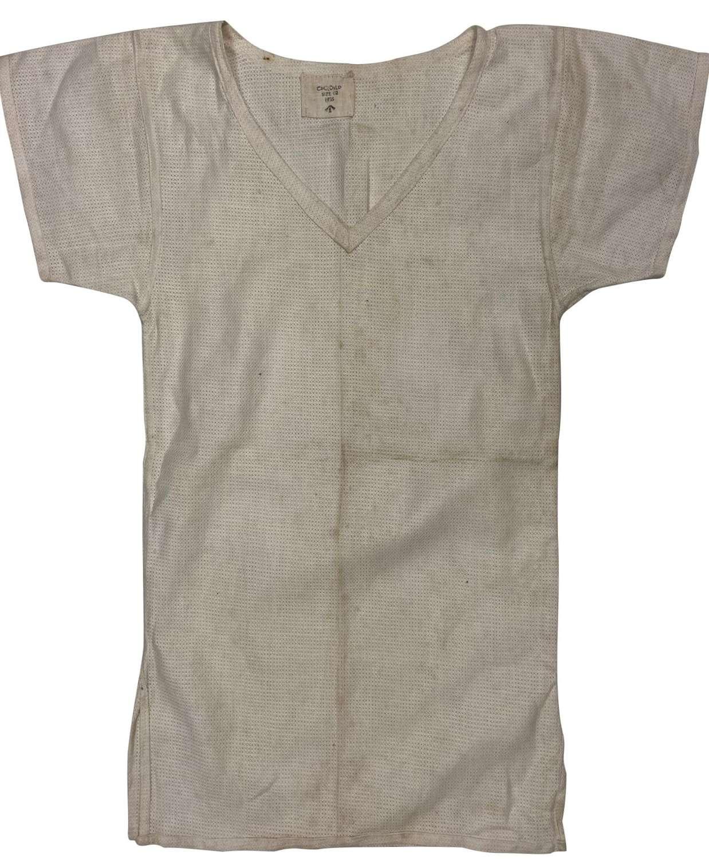 Original 1955 Dated British Army Aertex V-Neck Shirt - Size 002