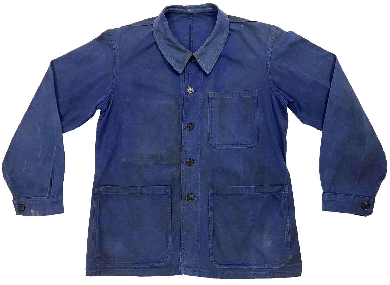 Original 1960s German Blue Workwear Chore Jacket