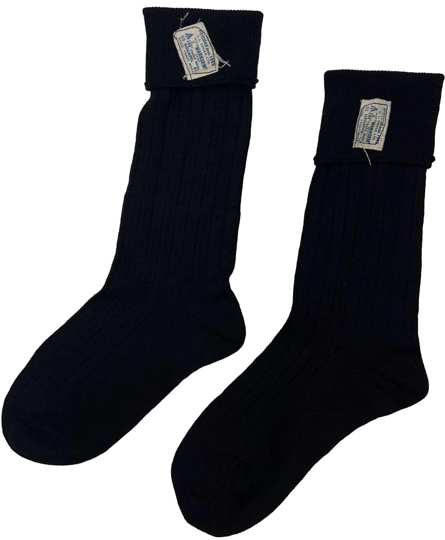 Original 1945 Dated RAF Black Wool Socks by 'Fortifax Regd'