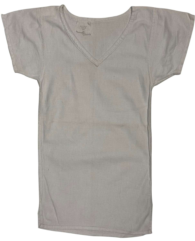 Original 1953 Dated British Army Aertex V-Neck Shirt - Size 002