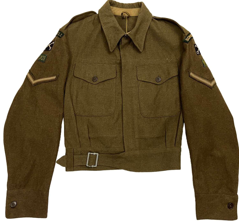 Original 1944 Dated War Aid Battledress Blouse - Somerset LI Insignia