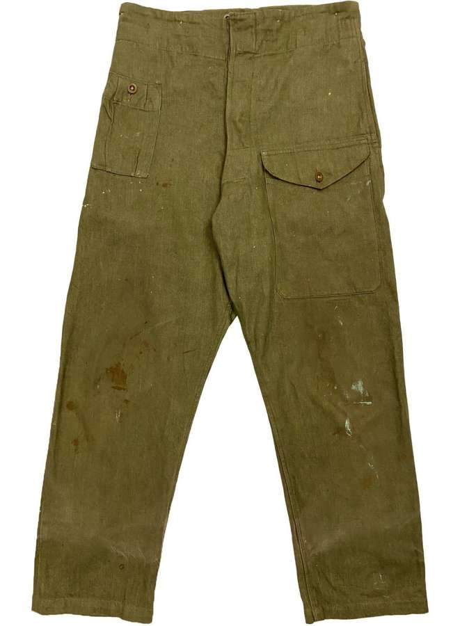 Original 1954 Dated British Army Denim Battledress Trousers - Size 6
