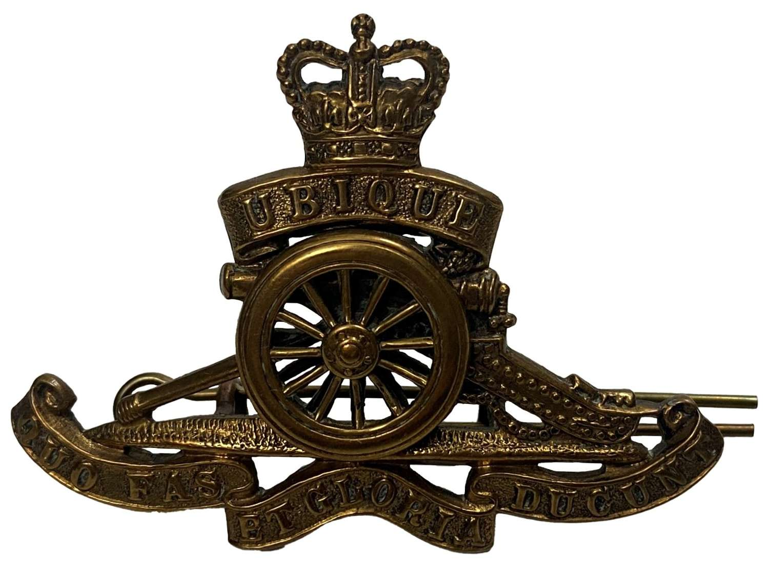 Original 1950s Royal Artillery Cap Badge - Spinning Wheel