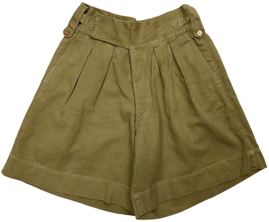 Original 1940s Khaki Drill Shorts - Size 28