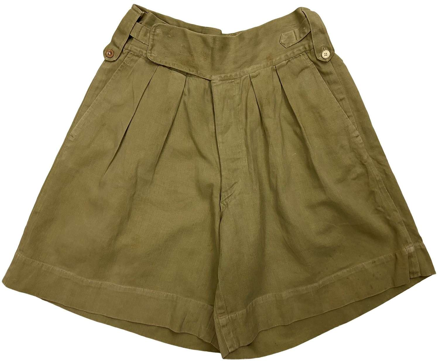 Original 1940s Khaki Drill Shorts - Size 28