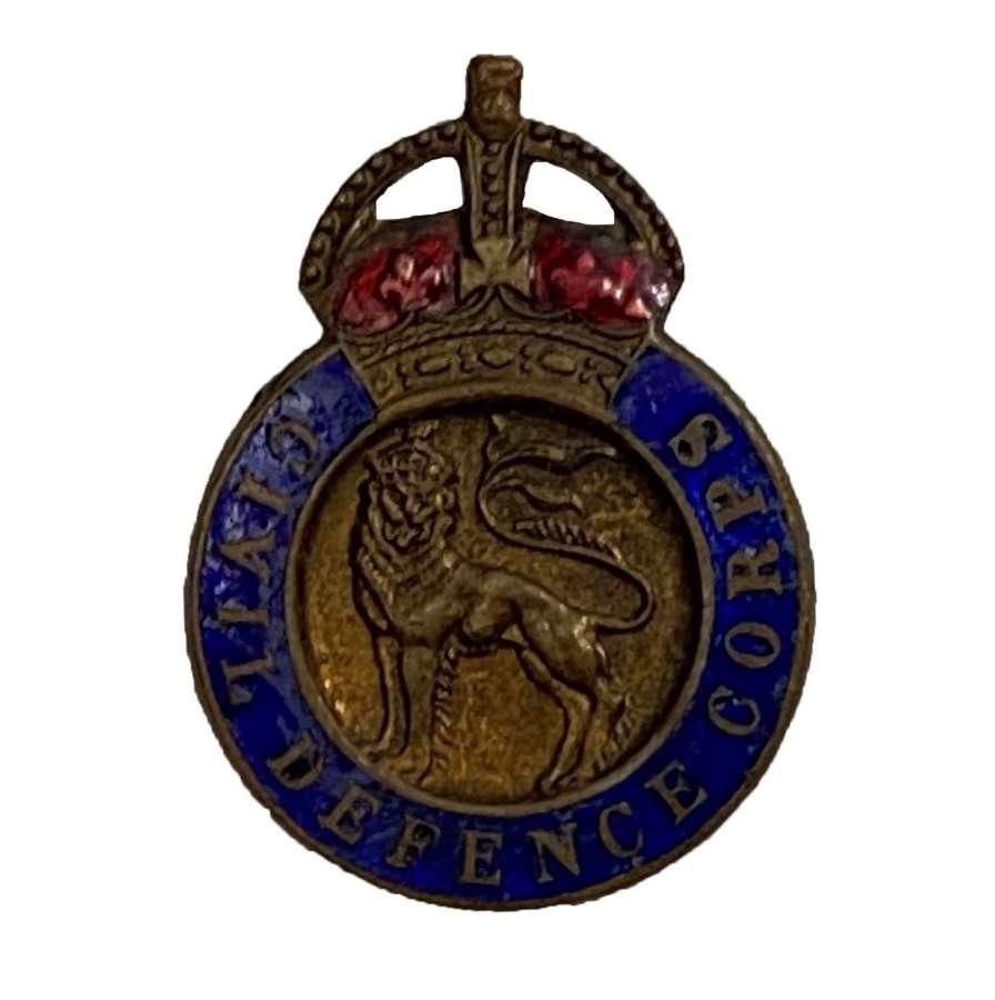 Original WW2 Civil Defence Corps Lapel Badge
