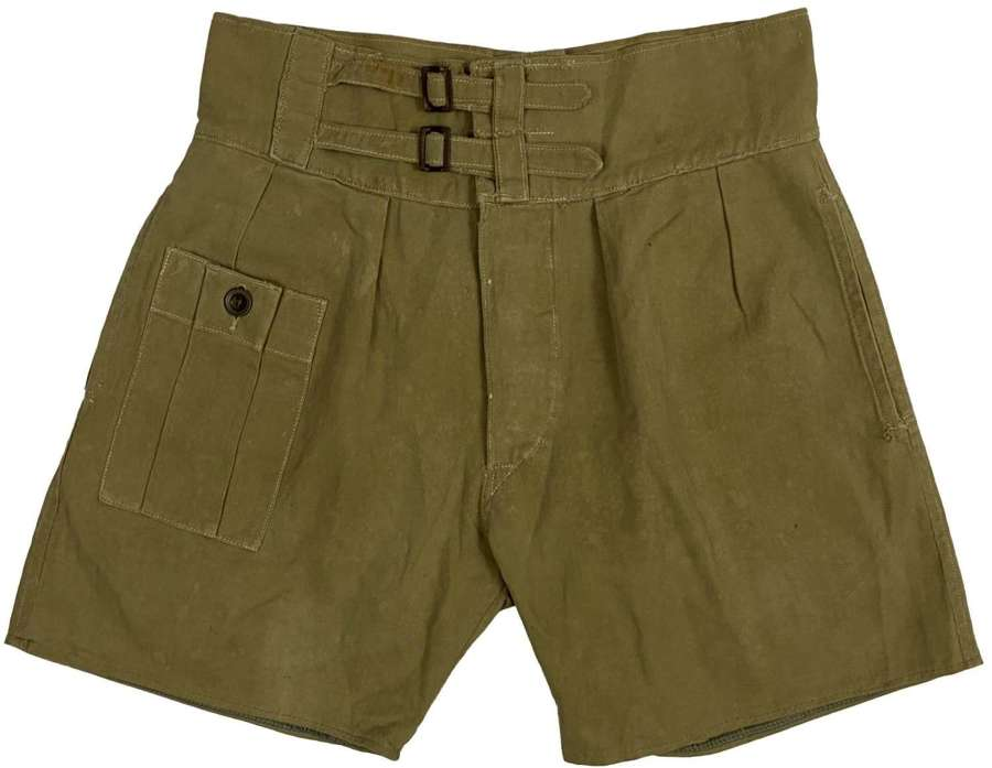 Original WW2 British Army Khaki Drill Shorts - Capt. J. H. Denny