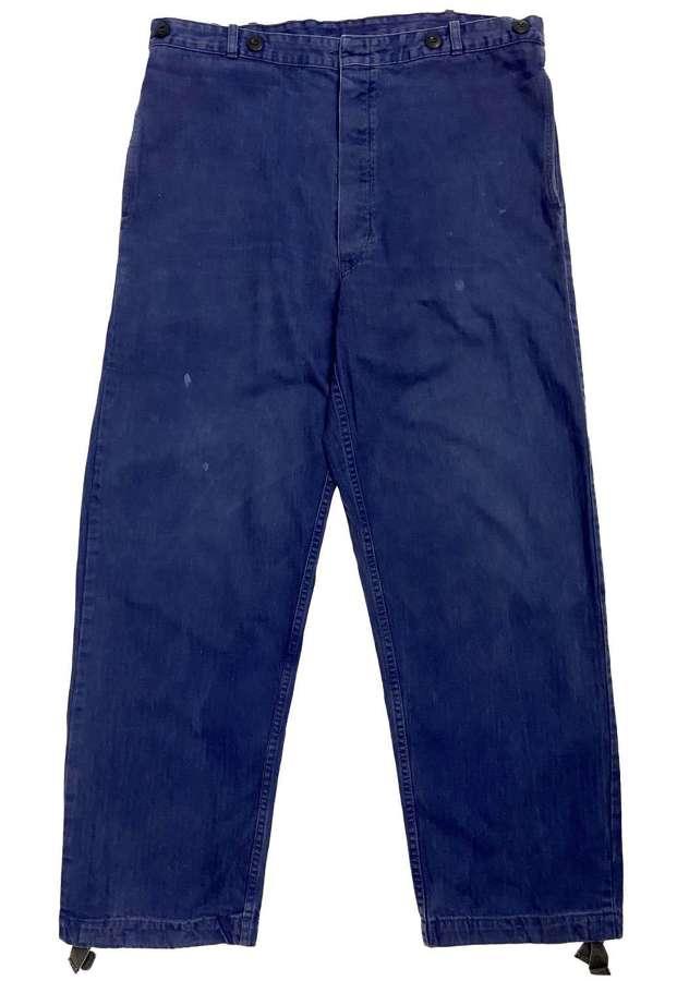 Original 1982 Dated German Military Navy Herringbone Twill Trousers
