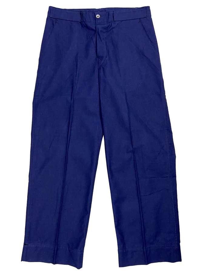 Original 1950s Swedish Military Blue Workwear Trousers