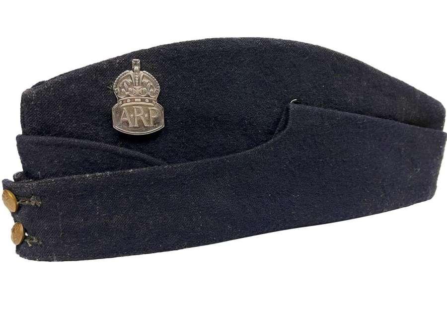 Original WW2 ARP Field Service Cap with Silver 1939 ARP Badge