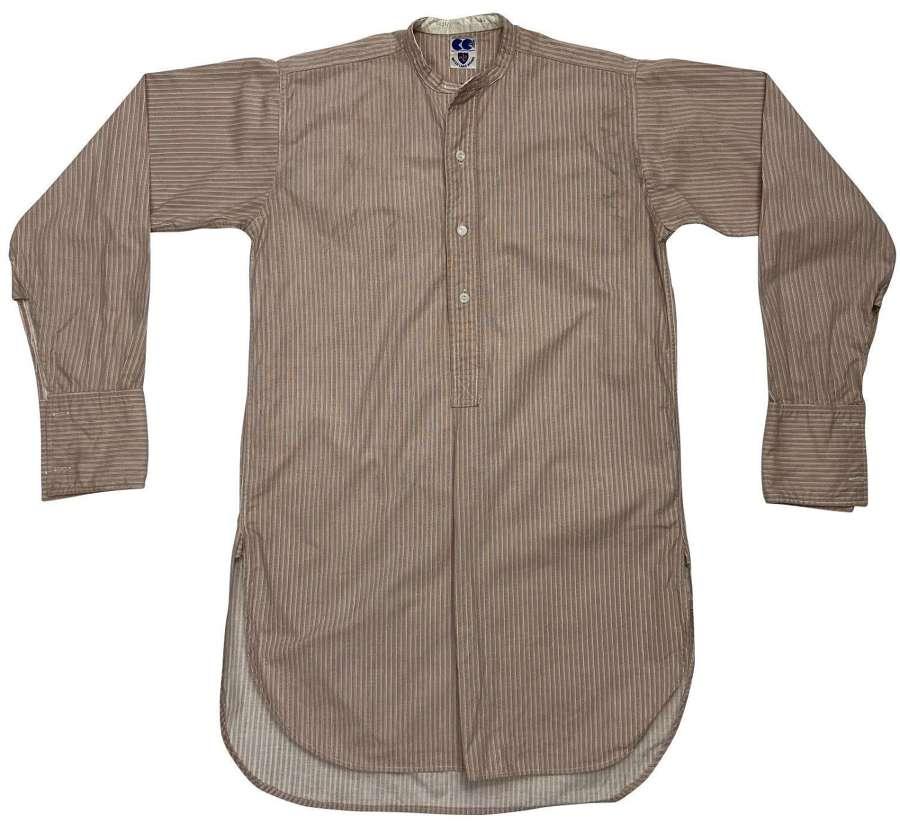 Original 1940s CC41 Striped Collarless Shirt by 'Water Lane Brand'