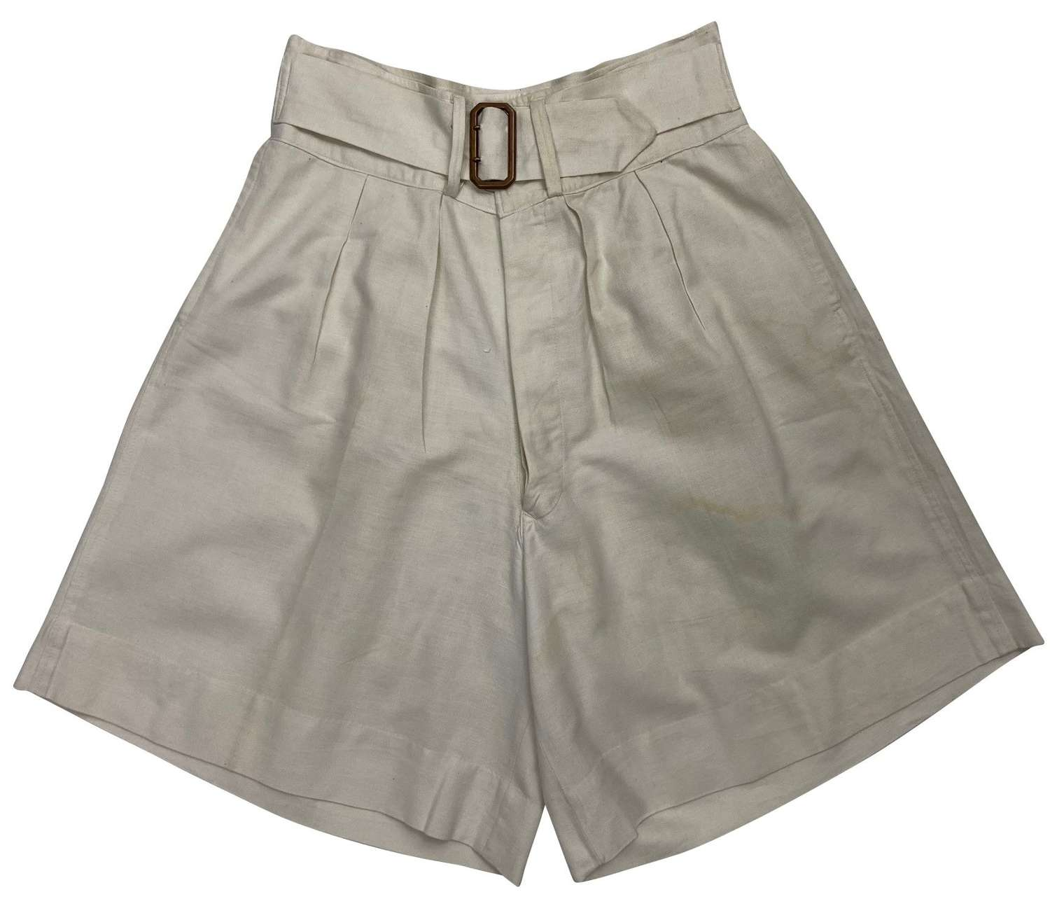 Original 1940s Royal Navy White Drill Shorts with Brass Waist Buckle