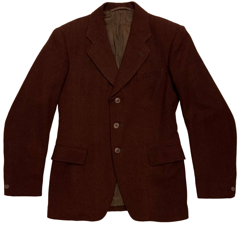 Stunning 1930s Brown Herringbone Wool Three Button Jacket