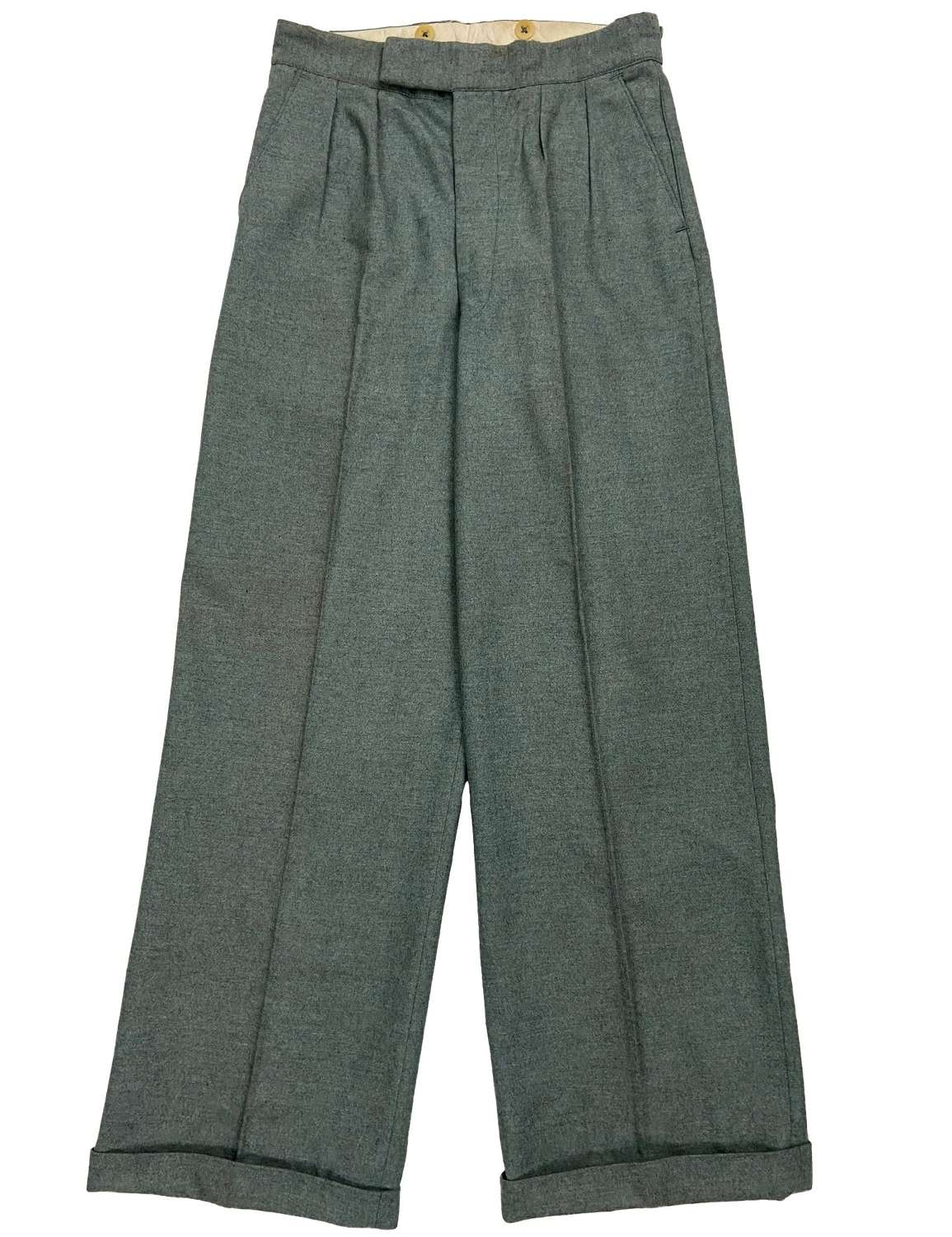 Rare 1940s CC41 Teal Grey Men's Flannel Trousers