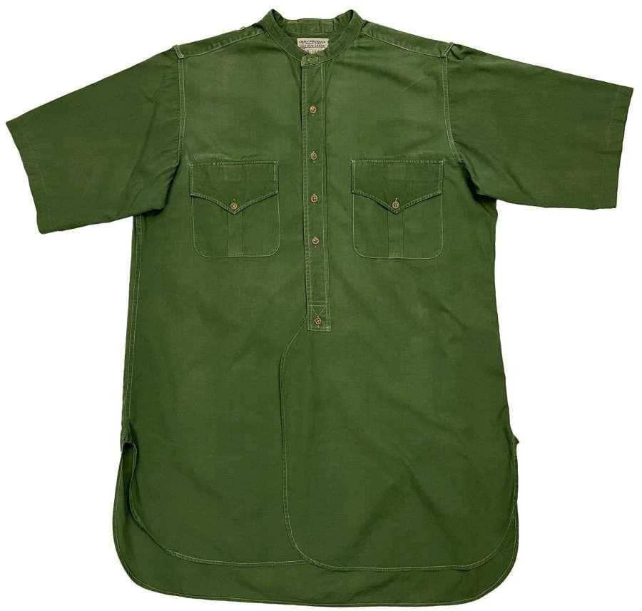 Original 1950s British Officers Green Poplin Cotton Collarless Shirt