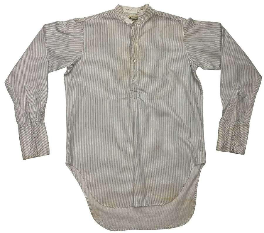 Original 1950s Collarless Needle Stripe Shirt by 'Weltus'