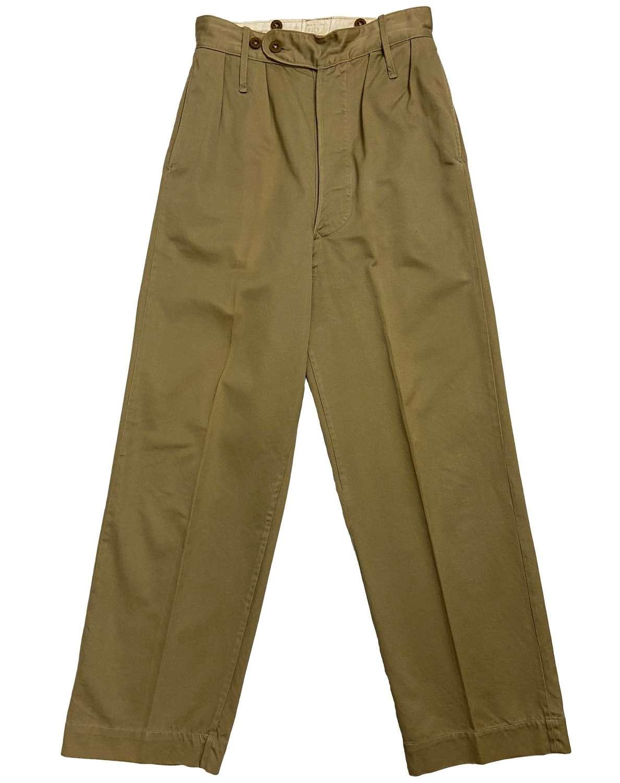 Original 1950s British Military Khaki Drill Trousers - Size 3