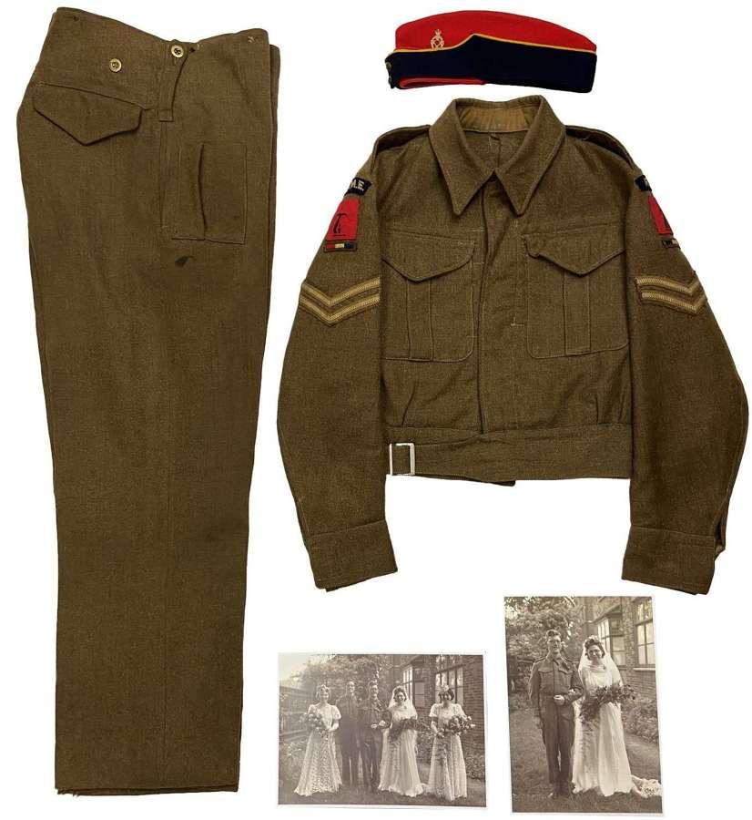Original WW2 REME Corporal Battledress Uniform Grouping