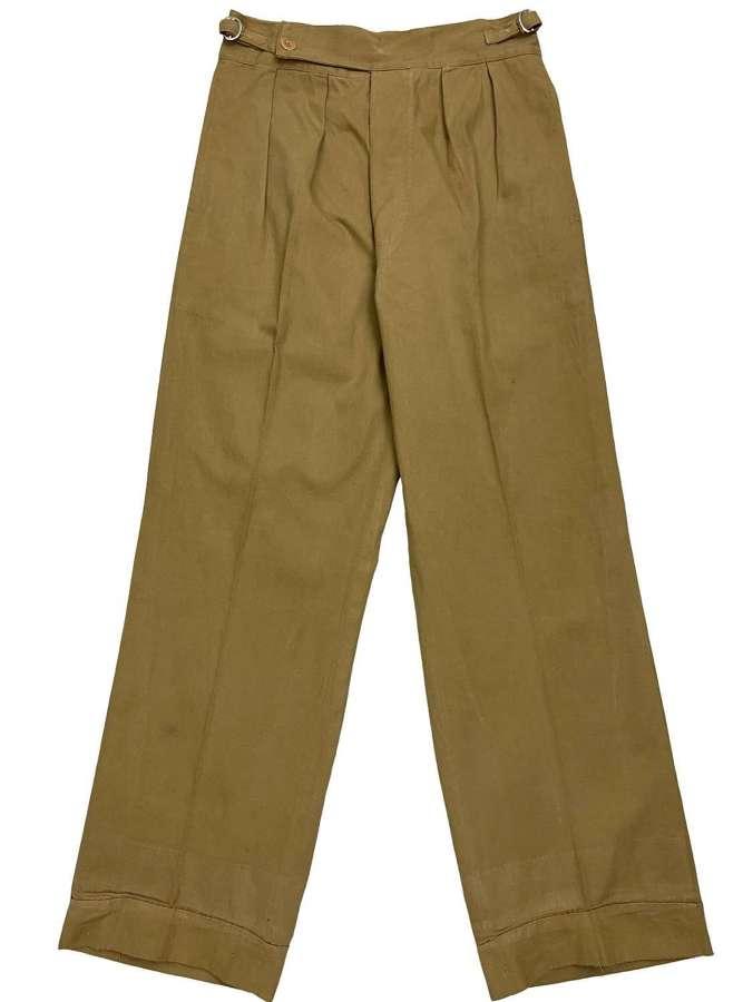 Original 1940s British Military Khaki Drill Trousers - Size 28