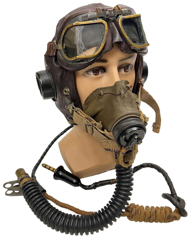 Original WW2 RAF C Type Flying Helmet, MK VIII Goggles and G Type Mask