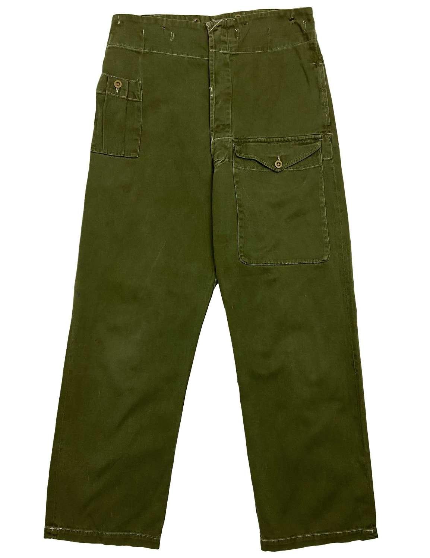 Rare WW2 British Army Drill Green Fatigue Trousers