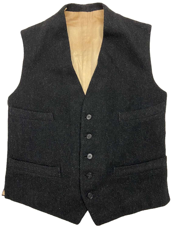 Original 1920s Dark Grey Tweed Waistcoat