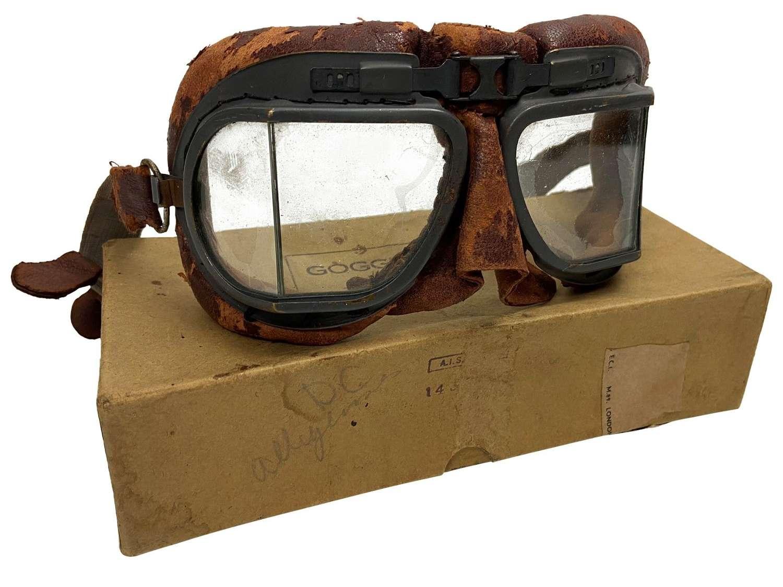 Original RAF MK VII Flying Goggles + Box