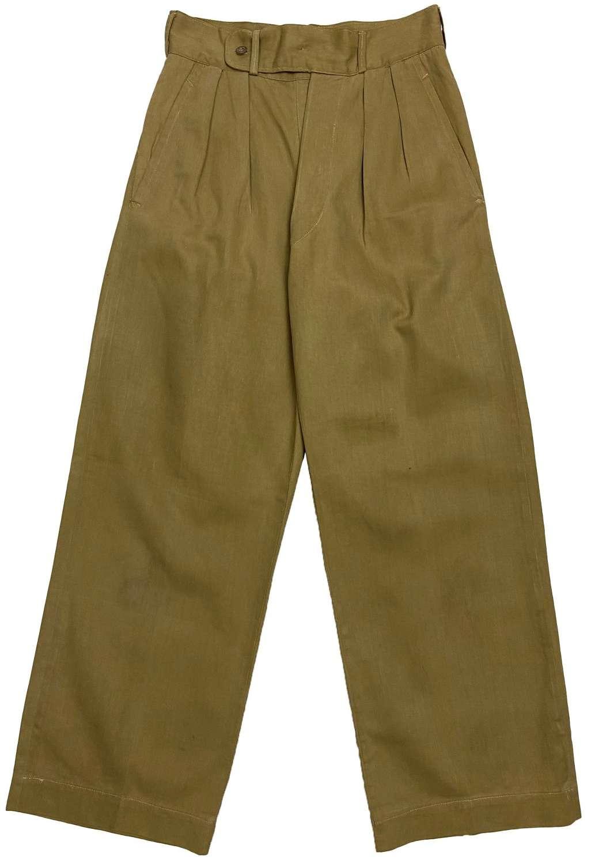 Original 1950s British Military Khaki Drill Trousers