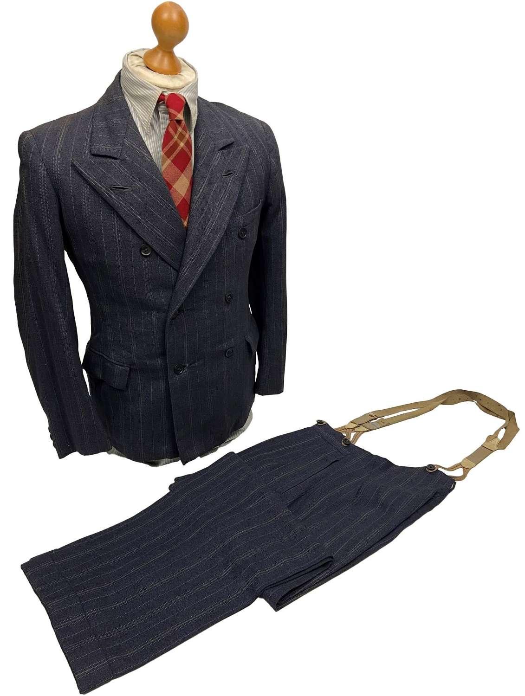 Original 1940s British Blue Double Breast Three Piece Suit